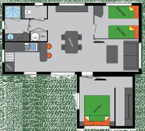 Plan chalet dans résidence vert Morbihan