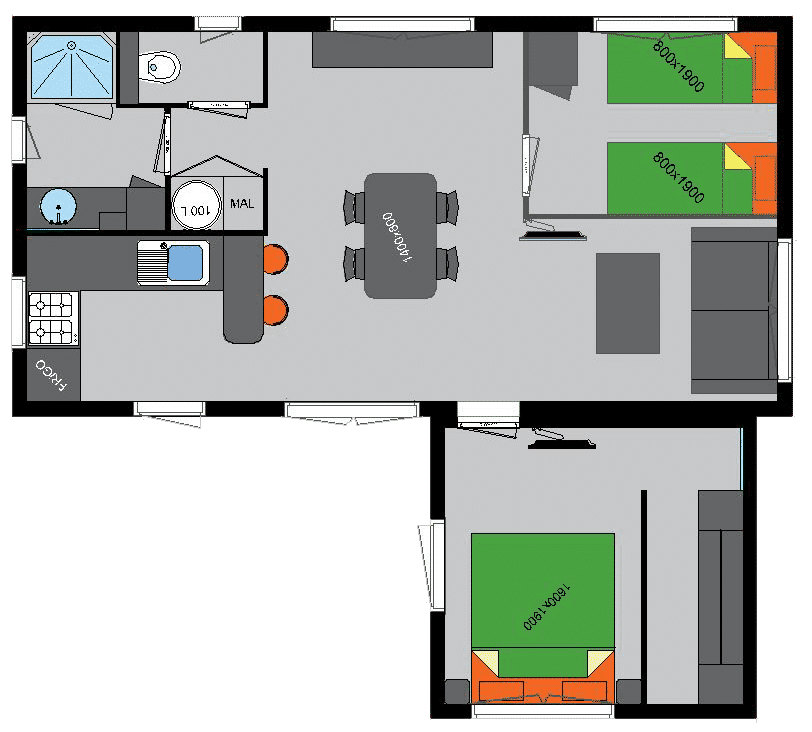 Plan of our Accommodation– Domaine du Moulin Neuf – nearby Vannes, in Britanny, Celtic region in France